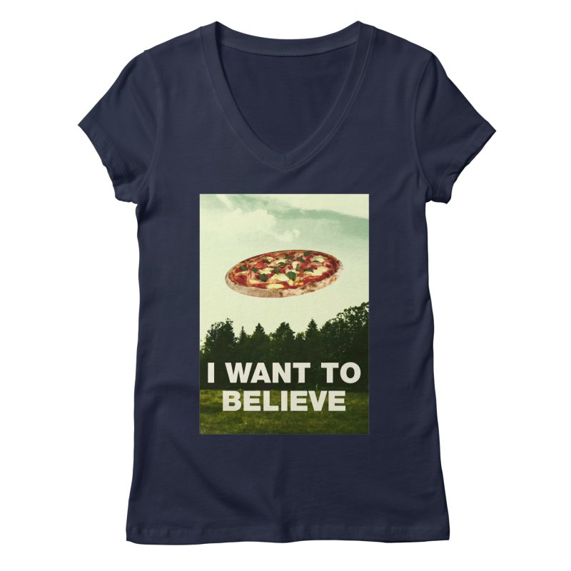 I WANT TO BELIEVE Women's Regular V-Neck by miskel's Shop