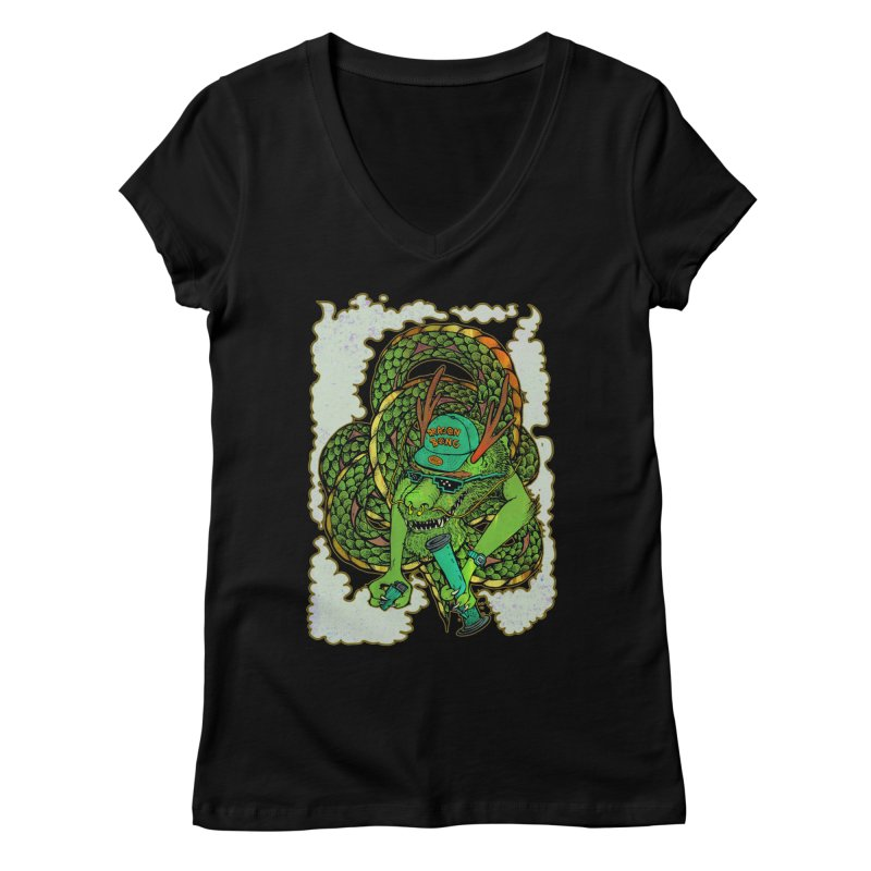 DRAGON BONG Women's V-Neck by miskel's Shop