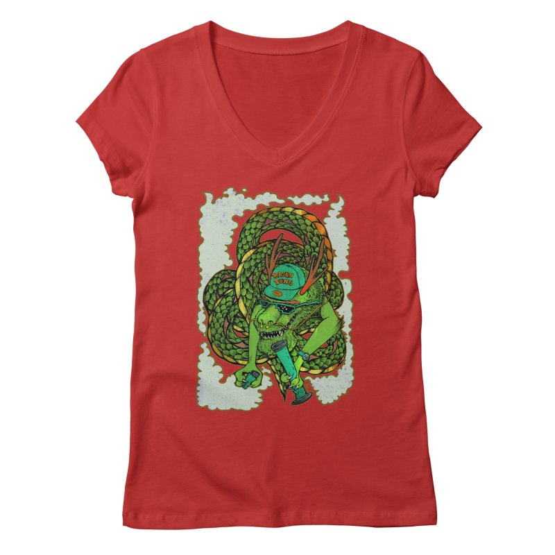 DRAGON BONG Women's Regular V-Neck by miskel's Shop