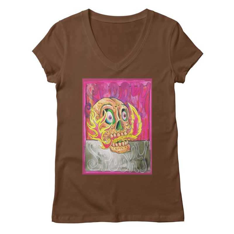 SPOOKY SPOOKY Women's Regular V-Neck by miskel's Shop
