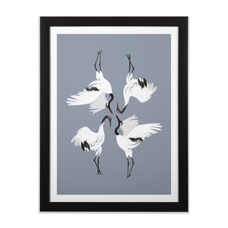 Crane Ballet Home Framed Fine Art Print by MissabeeART