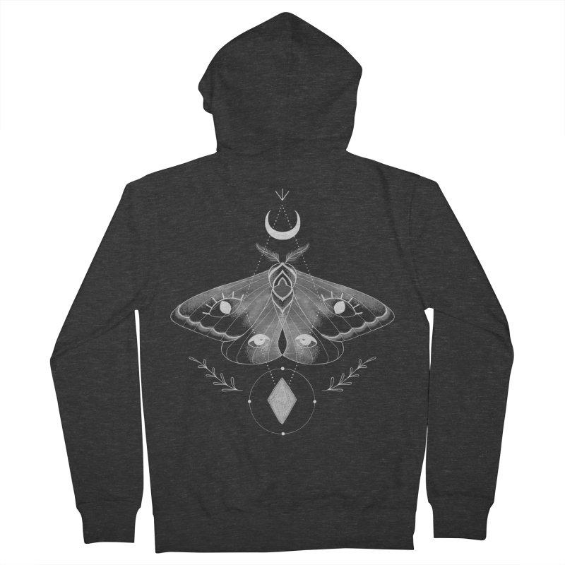 Mystic Moth - Black V2 Men's Zip-Up Hoody by MissabeeART