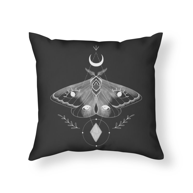 Mystic Moth - Black V2 Home Throw Pillow by MissabeeART