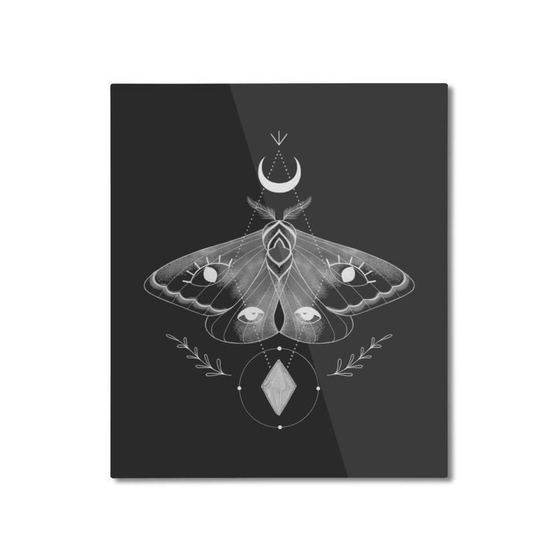 Mystic Moth - Black V2 Home Mounted Aluminum Print by MissabeeART