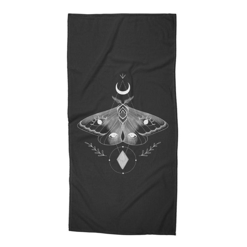Mystic Moth - Black V2 Accessories Beach Towel by MissabeeART