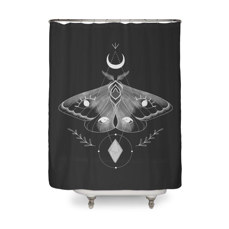 Mystic Moth - Black V2 Home Shower Curtain by MissabeeART