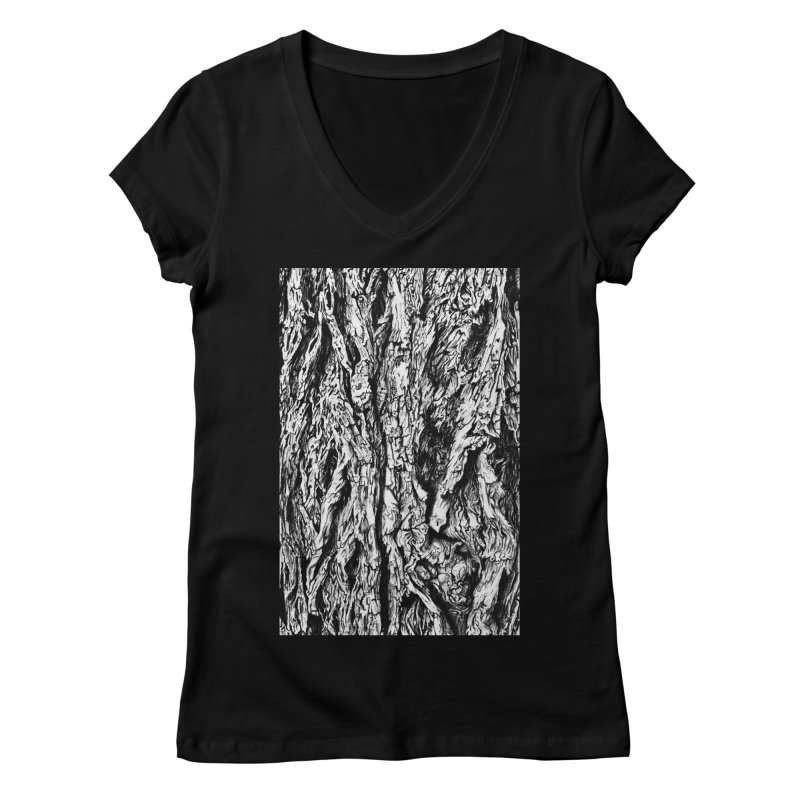 """""""charcoal tree bark 3"""" all around Women's V-Neck by Miss Jackie Creates"""