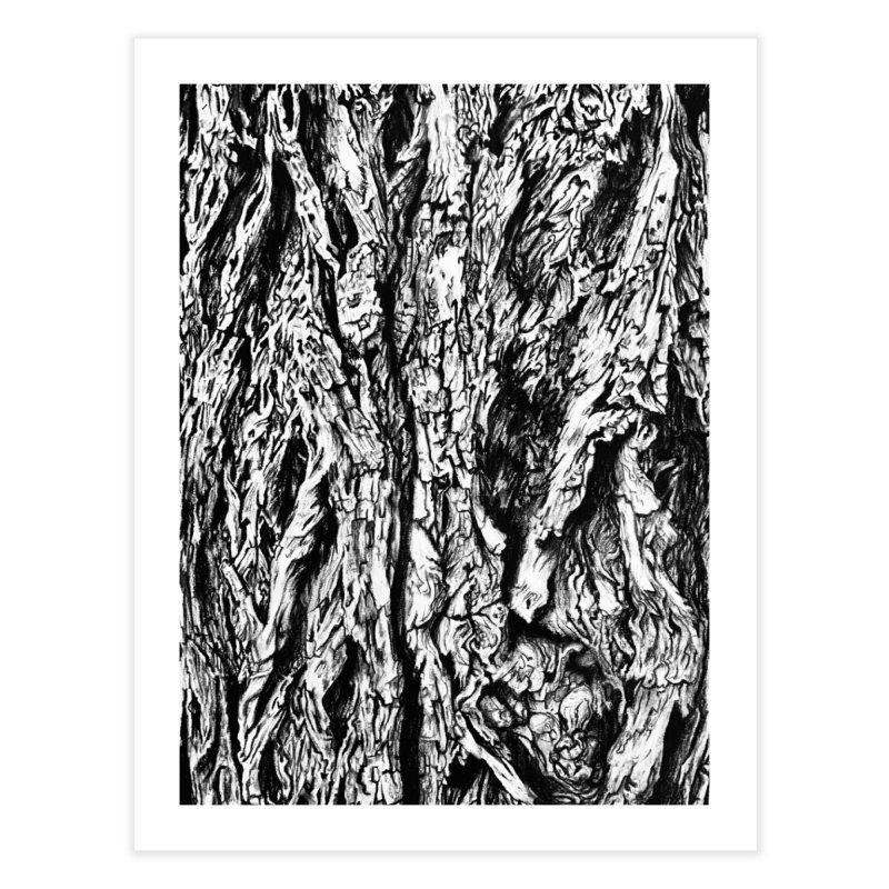 """charcoal tree bark 3"" all around Home Fine Art Print by Miss Jackie Creates"