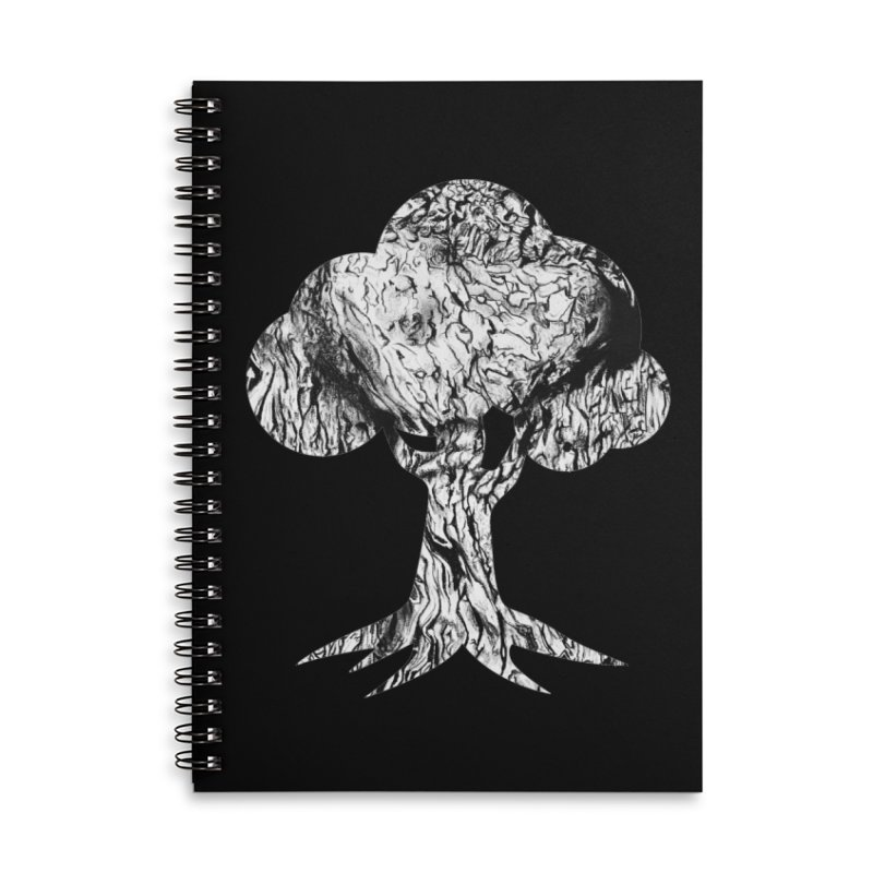 """""""charcoal tree bark 2"""" filled silhouette with black background Accessories Notebook by Miss Jackie Creates"""