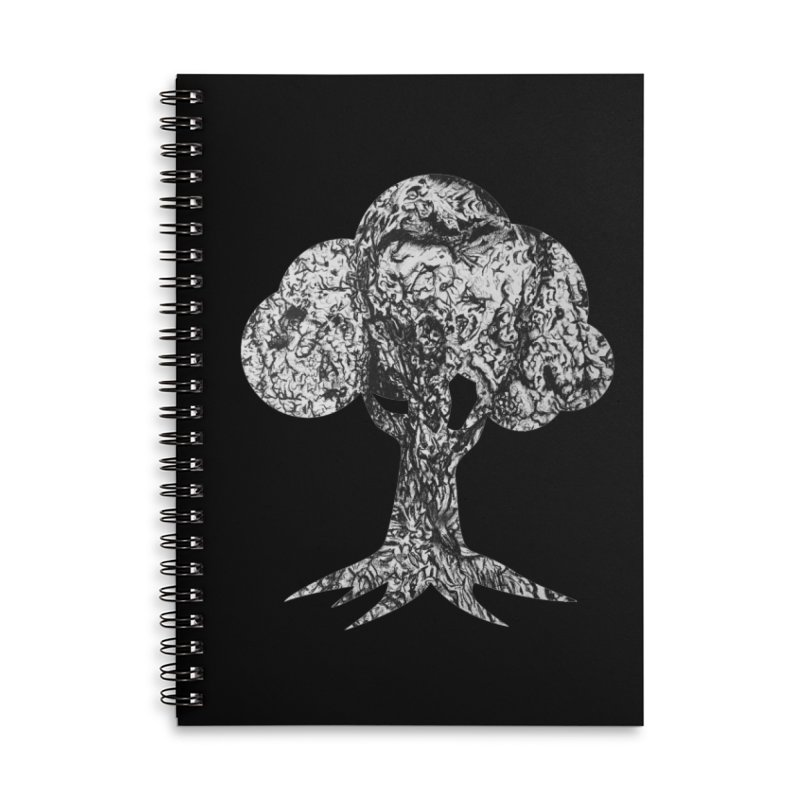 """""""charcoal tree bark 4"""" filled silhouette with black background Accessories Notebook by Miss Jackie Creates"""
