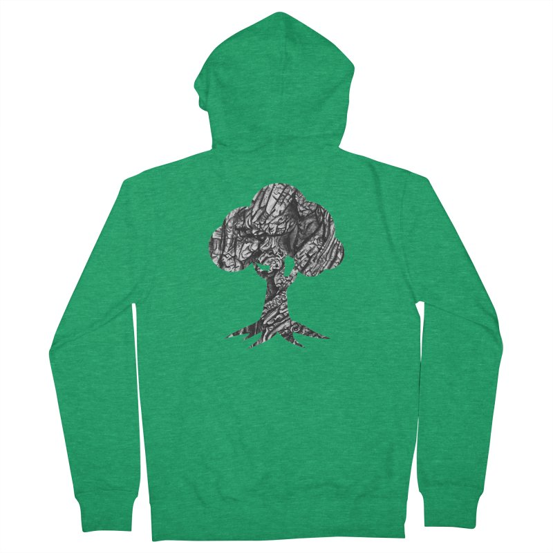 """""""charcoal tree bark 1"""" filled silhouette with white background Women's Zip-Up Hoody by Miss Jackie Creates"""