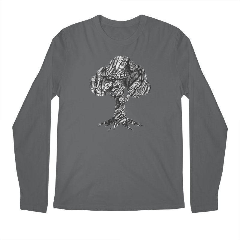 """""""charcoal tree bark 1"""" filled silhouette with white background Men's Longsleeve T-Shirt by Miss Jackie Creates"""