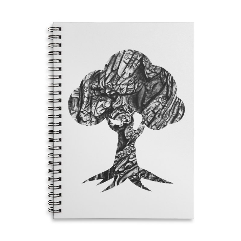 """""""charcoal tree bark 1"""" filled silhouette with white background Accessories Notebook by Miss Jackie Creates"""