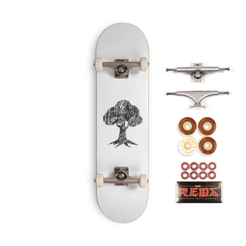 """""""charcoal tree bark 1"""" filled silhouette with white background Accessories Skateboard by Miss Jackie Creates"""