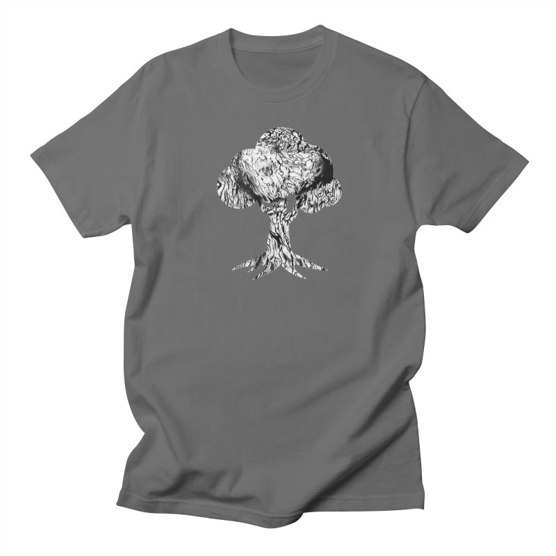 """charcoal tree bark 2"" filled silhouette with white background Men's T-Shirt by Miss Jackie Creates"