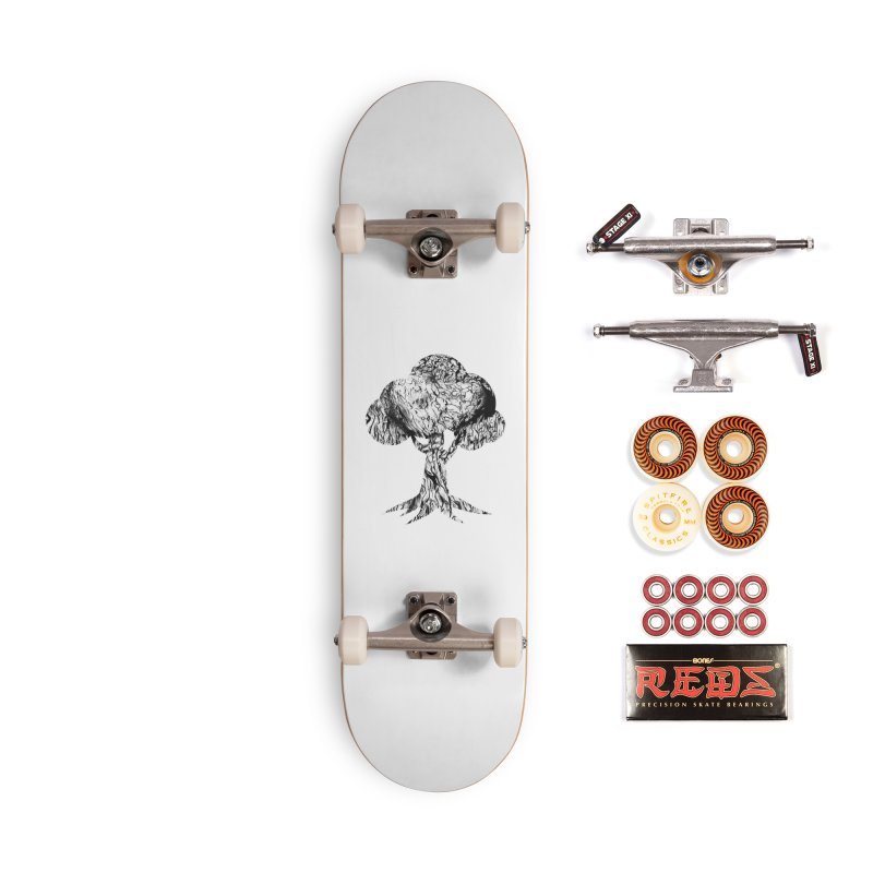 """""""charcoal tree bark 2"""" filled silhouette with white background Accessories Skateboard by Miss Jackie Creates"""