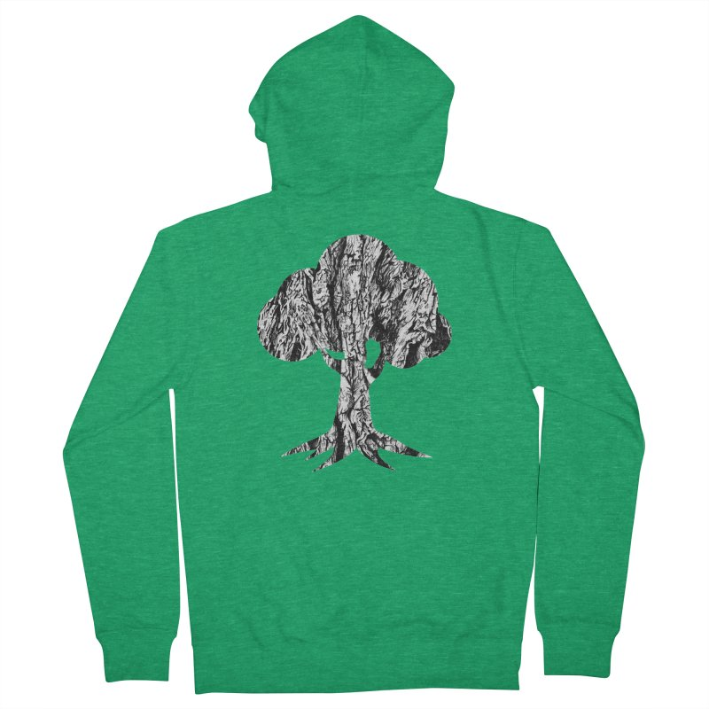 """charcoal tree bark 3"" filled silhouette with white background Women's Zip-Up Hoody by Miss Jackie Creates"