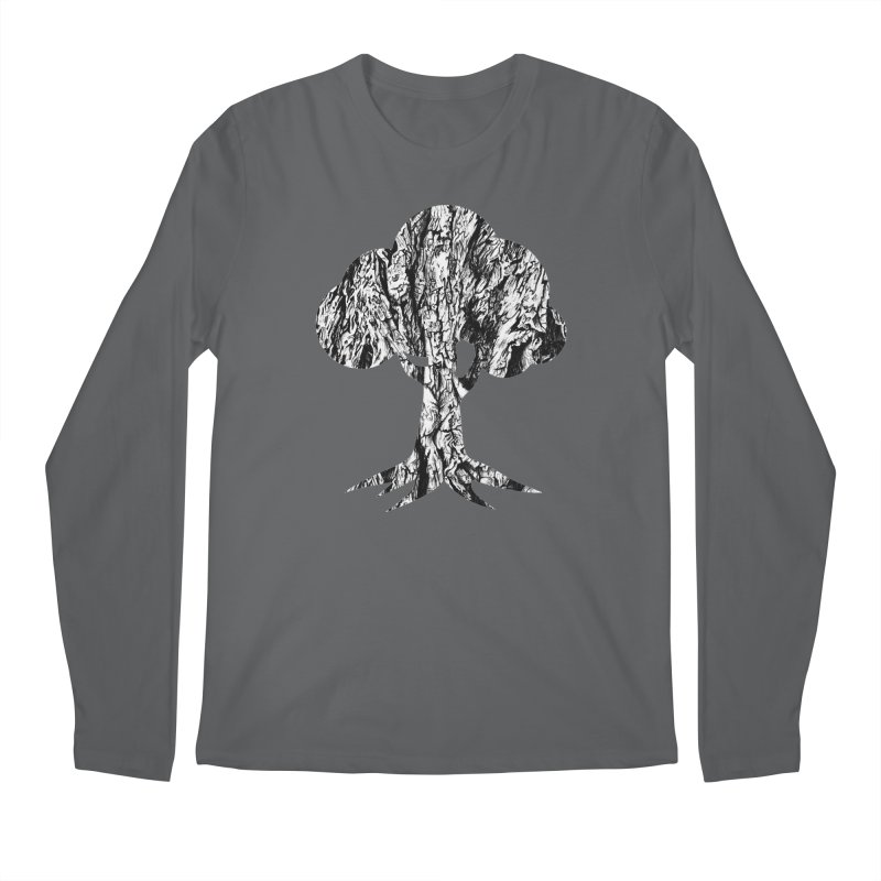 """""""charcoal tree bark 3"""" filled silhouette with white background Men's Longsleeve T-Shirt by Miss Jackie Creates"""