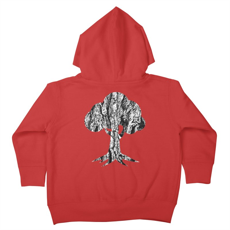 """charcoal tree bark 3"" filled silhouette with white background Kids Toddler Zip-Up Hoody by Miss Jackie Creates"