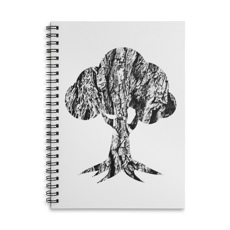 """charcoal tree bark 3"" filled silhouette with white background Accessories Notebook by Miss Jackie Creates"