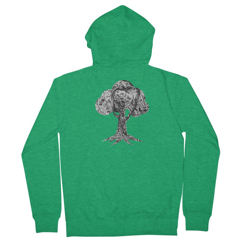 """""""charcoal tree bark 4"""" filled silhouette with white background Men's Zip-Up Hoody by Miss Jackie Creates"""