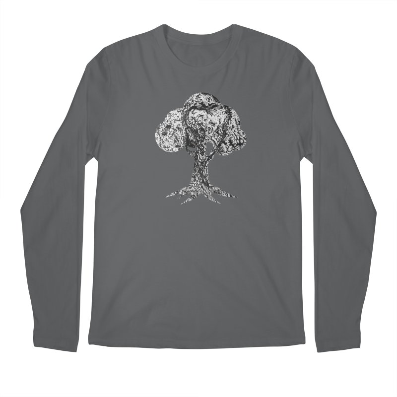 """""""charcoal tree bark 4"""" filled silhouette with white background Men's Longsleeve T-Shirt by Miss Jackie Creates"""