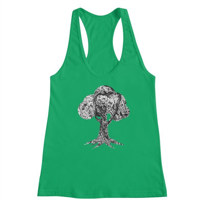 """""""charcoal tree bark 4"""" filled silhouette with white background Women's Tank by Miss Jackie Creates"""