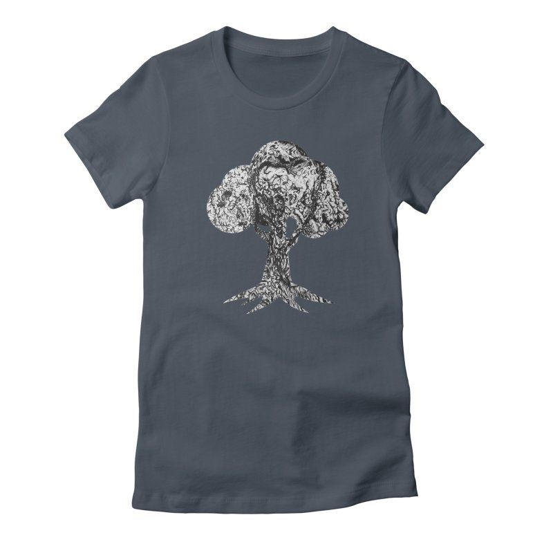 """""""charcoal tree bark 4"""" filled silhouette with white background Women's T-Shirt by Miss Jackie Creates"""