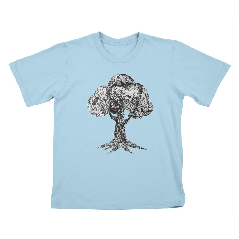 """""""charcoal tree bark 4"""" filled silhouette with white background Kids T-Shirt by Miss Jackie Creates"""