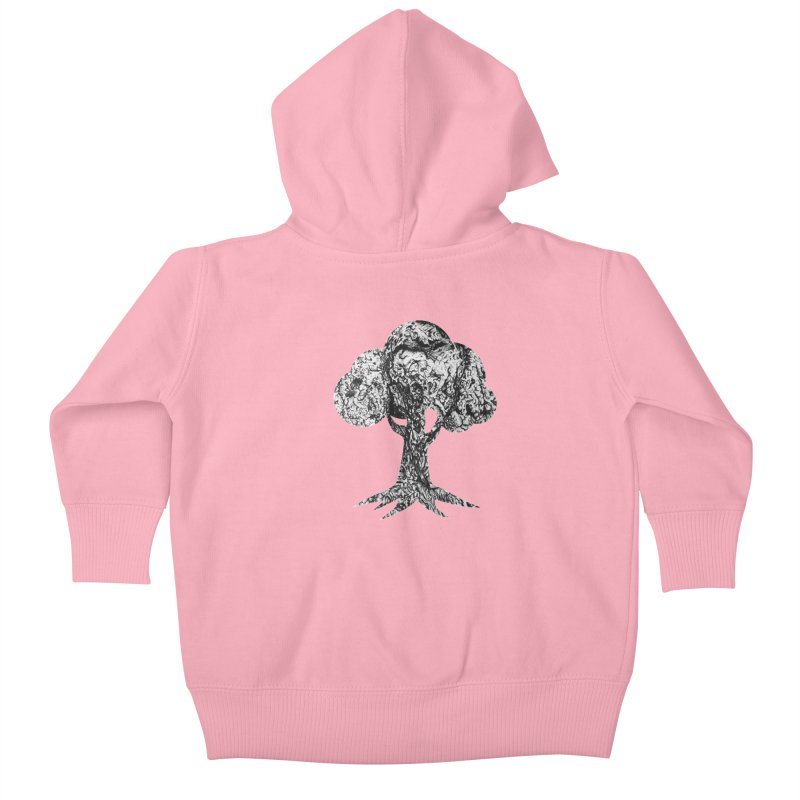 """""""charcoal tree bark 4"""" filled silhouette with white background Kids Baby Zip-Up Hoody by Miss Jackie Creates"""