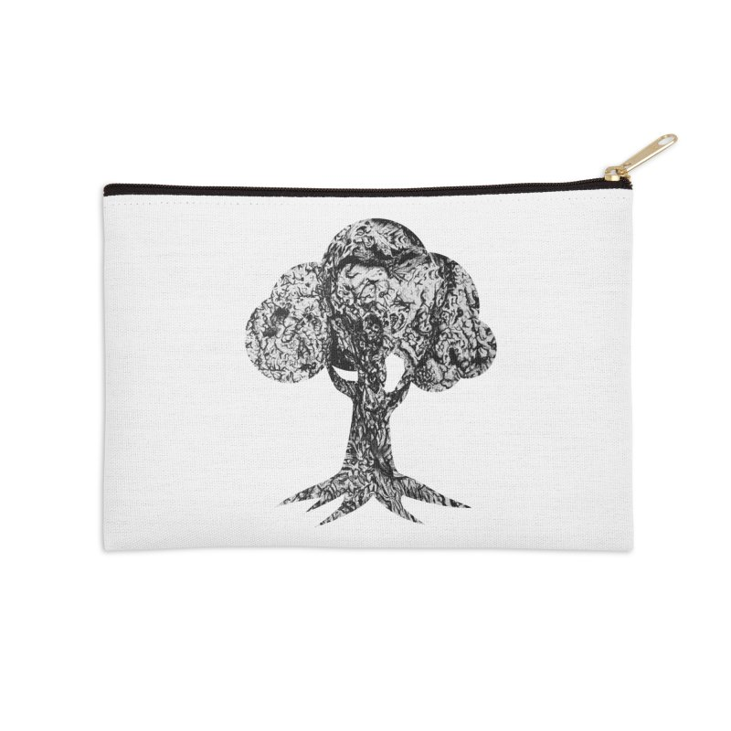 """""""charcoal tree bark 4"""" filled silhouette with white background Accessories Zip Pouch by Miss Jackie Creates"""