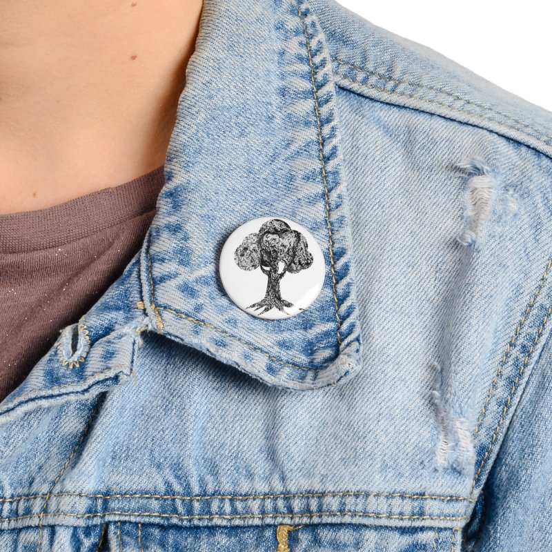 """""""charcoal tree bark 4"""" filled silhouette with white background Accessories Button by Miss Jackie Creates"""
