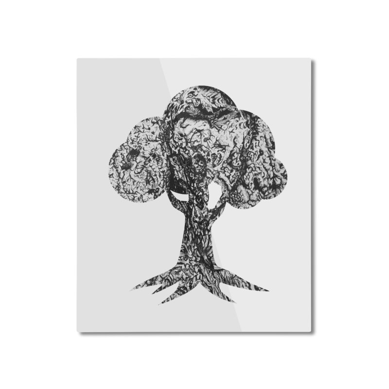 """""""charcoal tree bark 4"""" filled silhouette with white background Home Mounted Aluminum Print by Miss Jackie Creates"""