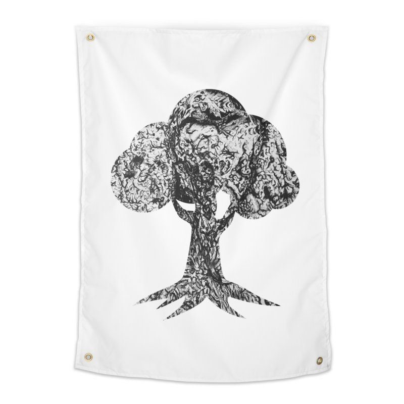 """""""charcoal tree bark 4"""" filled silhouette with white background Home Tapestry by Miss Jackie Creates"""