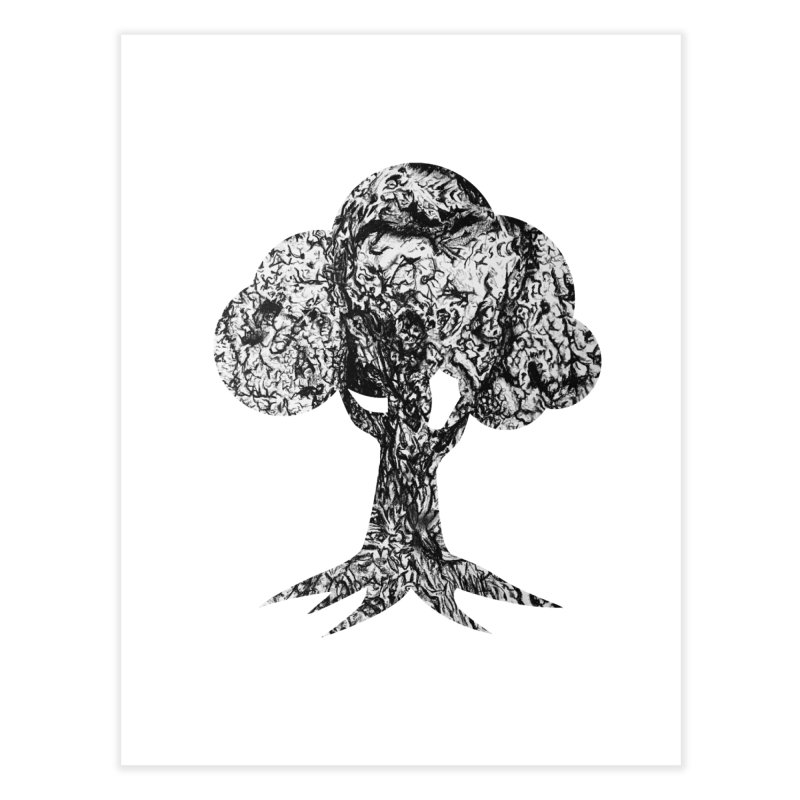 """""""charcoal tree bark 4"""" filled silhouette with white background Home Fine Art Print by Miss Jackie Creates"""