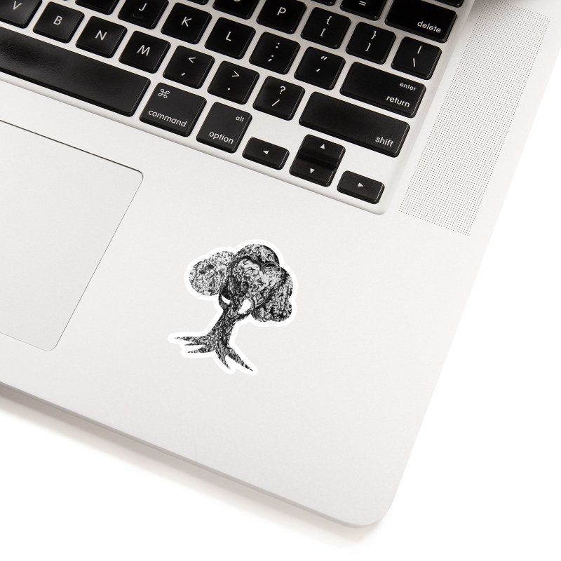"""""""charcoal tree bark 4"""" filled silhouette with white background Accessories Sticker by Miss Jackie Creates"""