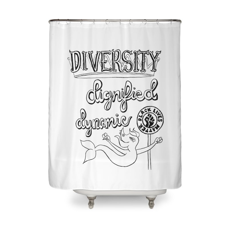 BLM diversity dignified dynamic with Yogi Monster Dexter Home Shower Curtain by Miss Jackie Creates