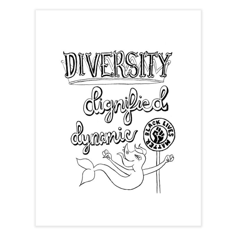 BLM diversity dignified dynamic with Yogi Monster Dexter Home Fine Art Print by Miss Jackie Creates