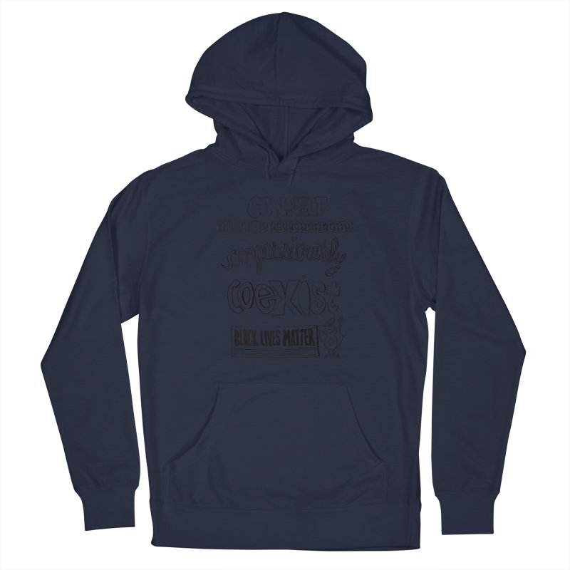 BLM connect compassionately coexist with Yogi Monster Cara Men's Pullover Hoody by Miss Jackie Creates
