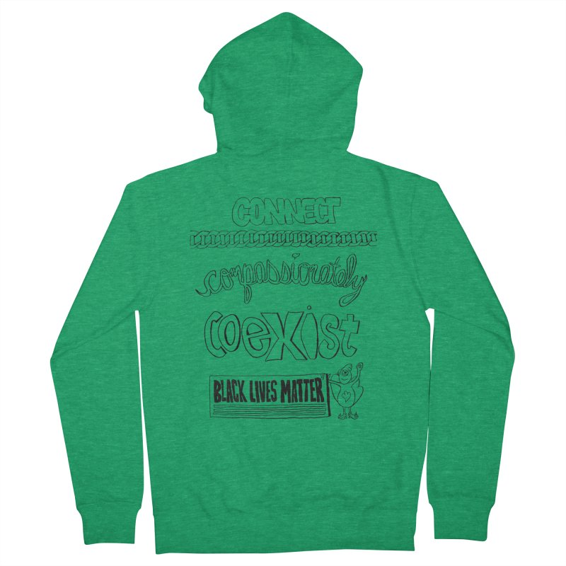 BLM connect compassionately coexist with Yogi Monster Cara Women's Zip-Up Hoody by Miss Jackie Creates