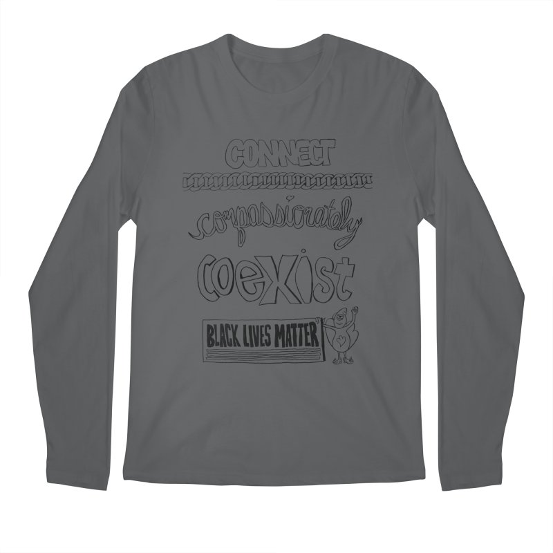BLM connect compassionately coexist with Yogi Monster Cara Men's Longsleeve T-Shirt by Miss Jackie Creates
