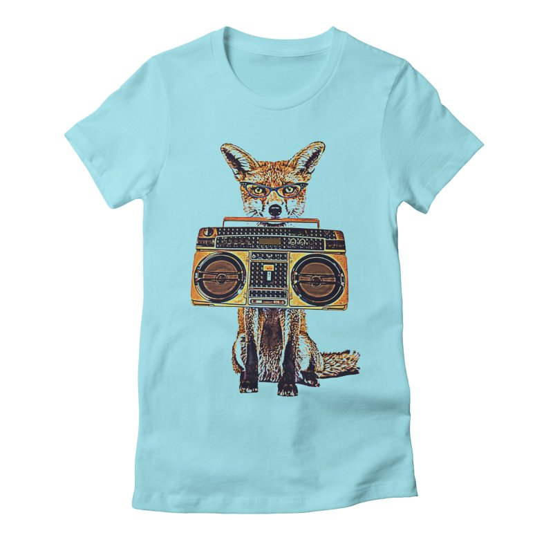 Boom Box Fox in Women's Fitted T-Shirt Cancun by Misterdressup