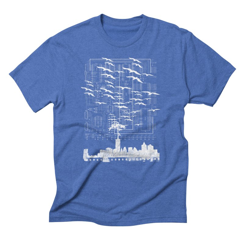 Electri-City in Men's Triblend T-Shirt Blue Triblend by Misterdressup