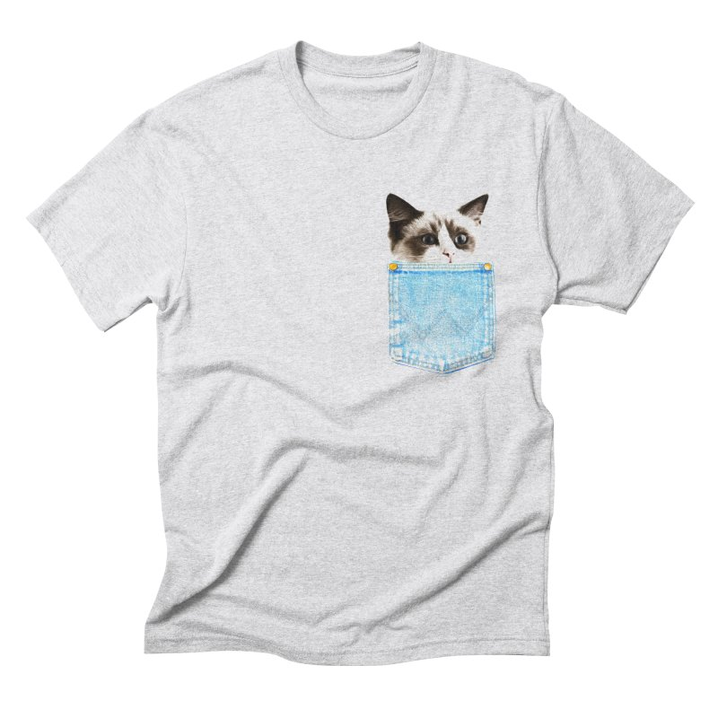 Pocket Cat in Men's Triblend T-Shirt Heather White by Misterdressup