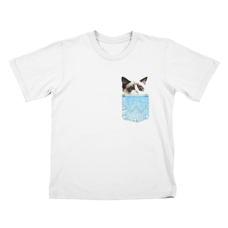 Pocket Cat in Kids T-Shirt White by Misterdressup