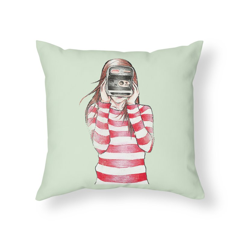 Polaroid Girl in Throw Pillow by Misterdressup