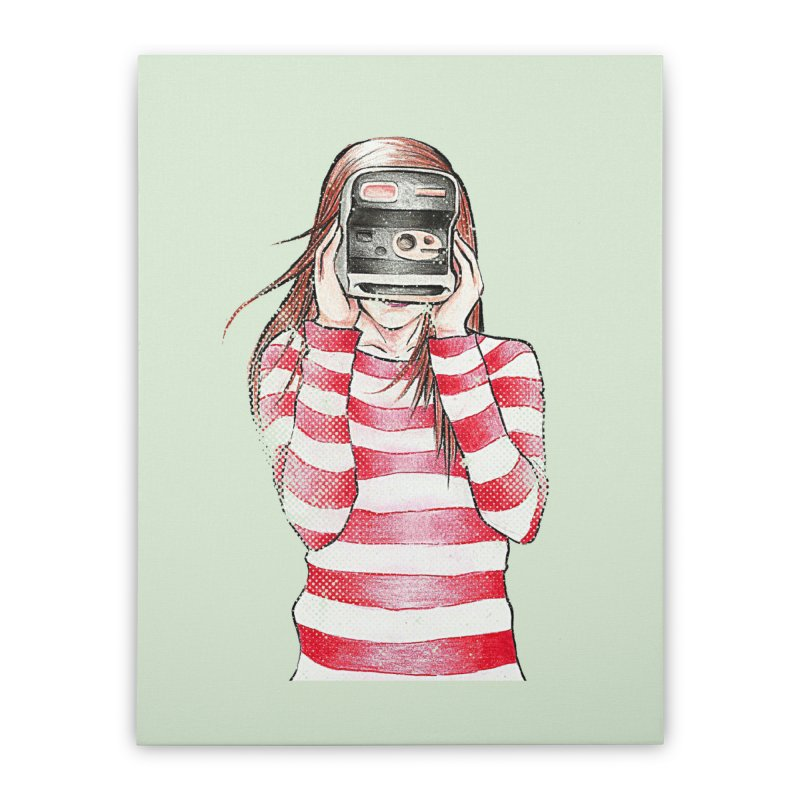 Polaroid Girl Home Stretched Canvas by Misterdressup