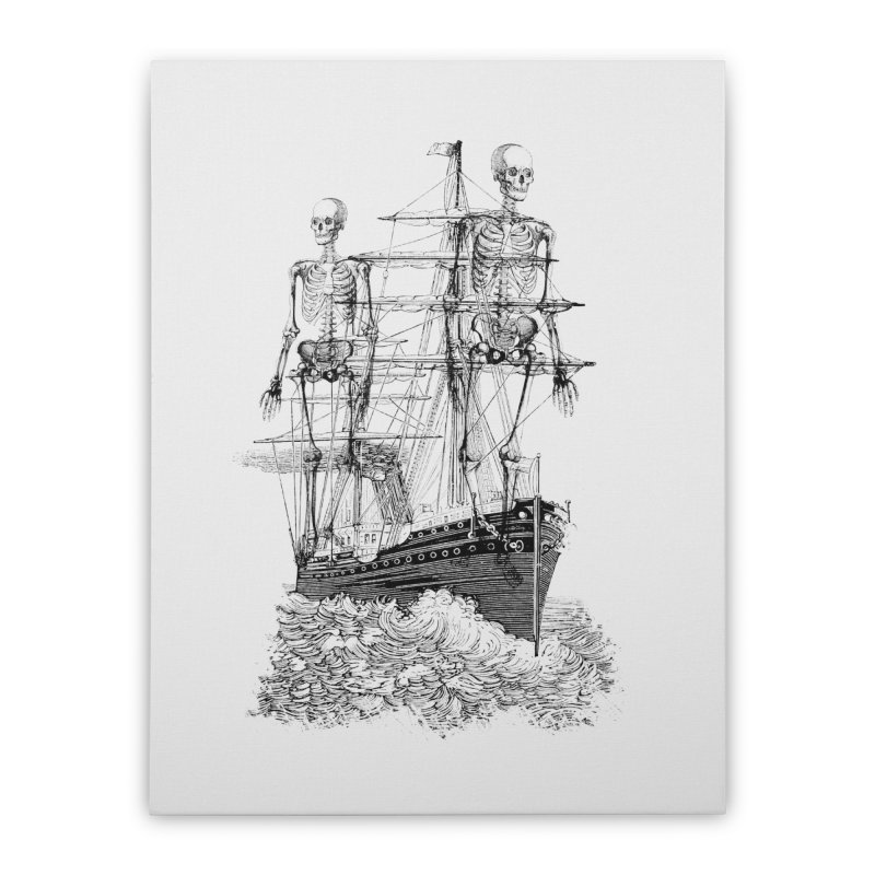 Skull Ship Home Stretched Canvas by Misterdressup