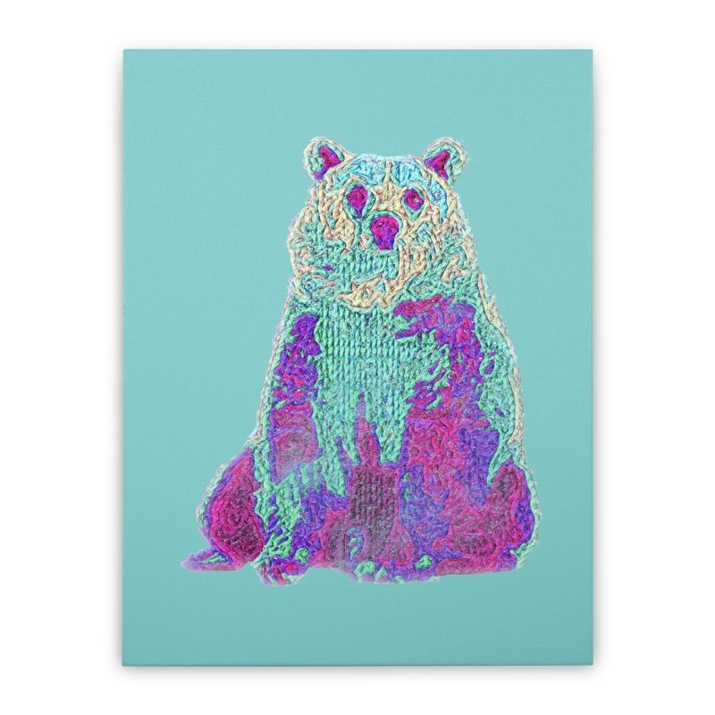 Bear Knit Home Stretched Canvas by Misterdressup
