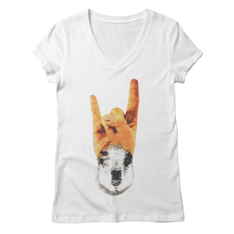 Lama Rock Women's Regular V-Neck by Misterdressup